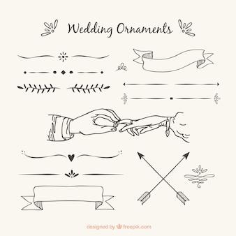 Ornamentos de casamento com estilo desenhado a mão