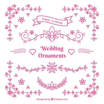 Ornamentos de casamento rosa