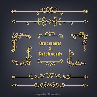 Ornamentos de ouro e divisores