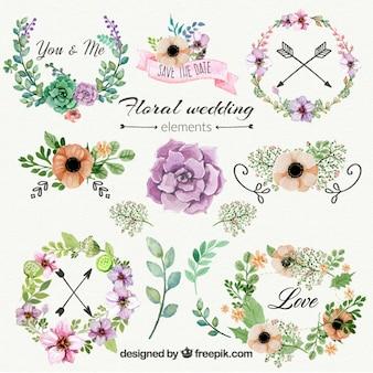 Ornamentos florais do casamento