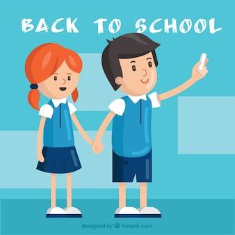 Os alunos dos desenhos animados de volta à escola