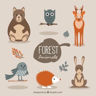 Os animais bonitos da floresta em estilo plano