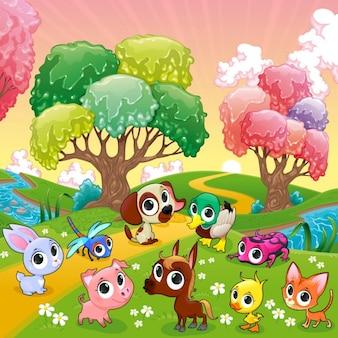 Os animais engraçados na ilustração do vetor dos desenhos animados de madeira mágica