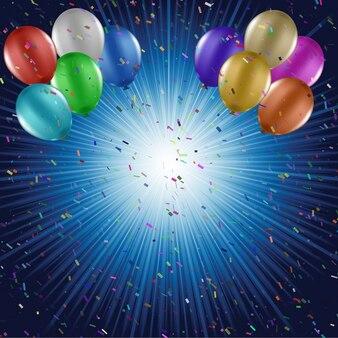 Os balões coloridos e confetes sobre um fundo starburst