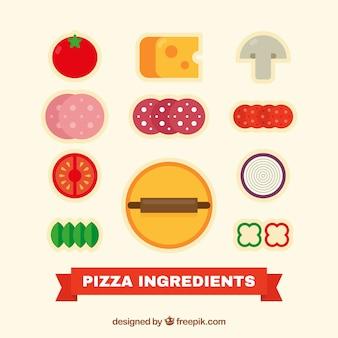 Os ingredientes para uma pizza deliciosa