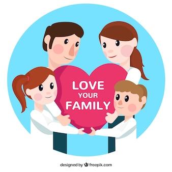 Os membros da família que prendem um coração com uma mensagem de amor