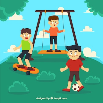 Os meninos se divertindo com atividades diferentes