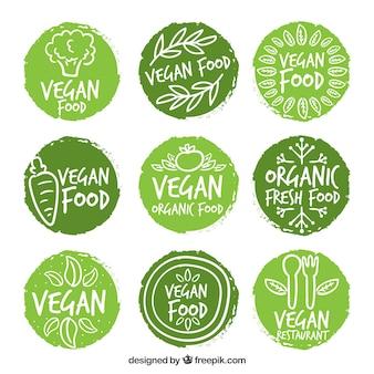 Os rótulos dos alimentos vegan arredondada pintados à mão
