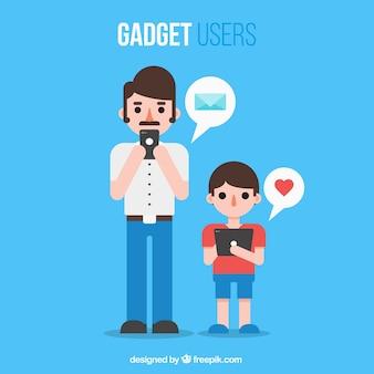 Os usuários do gadget agradáveis