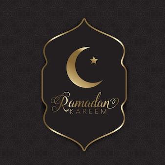 Ouro decorativo e fundo preto para o Ramadã