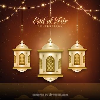 Ouro lanterna Eid-al-Fitr fundo