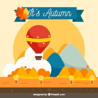 Outono fundo com balão e paisagem