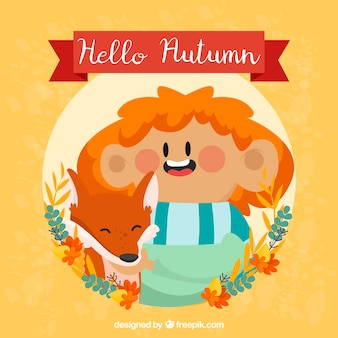 Outono, fundo, sorrindo, menino, raposa