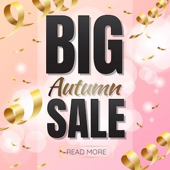 Outono, venda, modelo, bandeira, vetorial, fundo