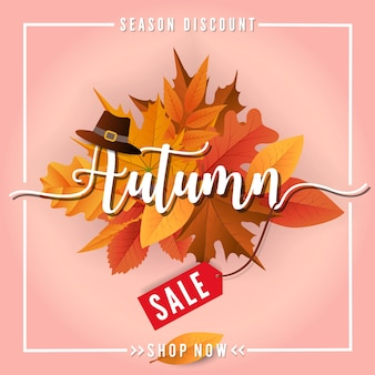Outono venda sbanner fundo design