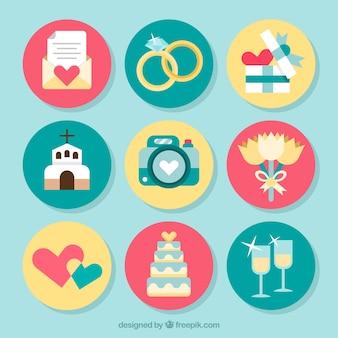Pack de elementos de casamento tipical em design plano