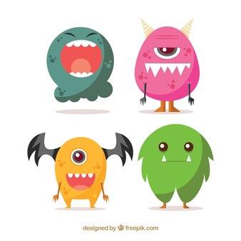 Pack de monstros engraçados de Halloween em um design plano