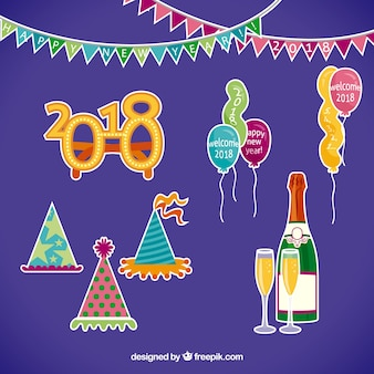 Pack of hand drawn new year party elements