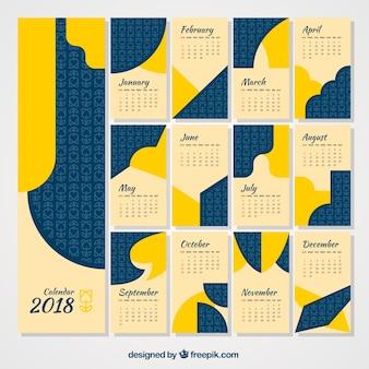 Pacote abstrato do calendário 2018 em design plano