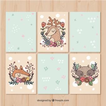 Pacote artístico de cartões de animais