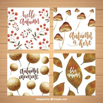 Pacote artístico de cartões de outono de aquarela