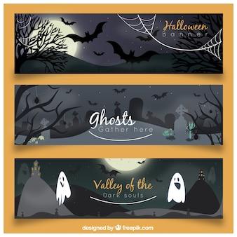 Pacote assustador de banners de Halloween