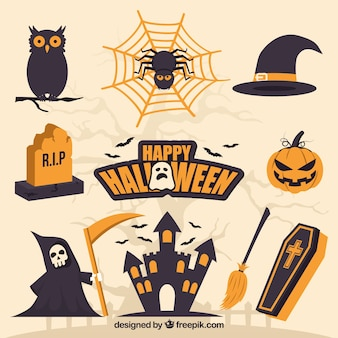 Pacote assustador de elementos lisos de Halloween