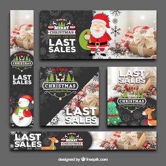 Pacote bonito de banners de venda de Natal