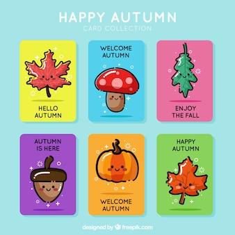 Pacote bonito de cartões de outono com estilo de desenho animado