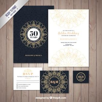 Pacote brochura de casamento dourado