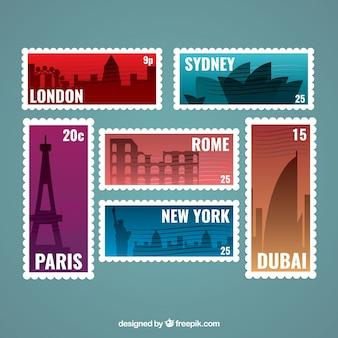 Pacote, cidade, selos, silhuetas
