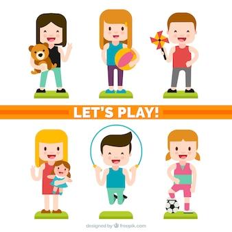 Pacote colorido das crianças alegre que joga