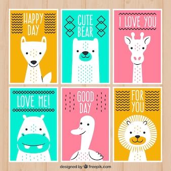 Pacote colorido de cartões com animais selvagens