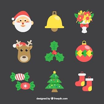 Pacote colorido de elementos de Natal plano