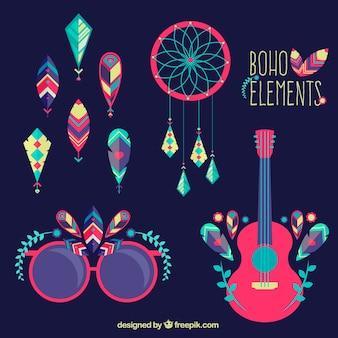 Pacote colorido de elementos étnicos em design plano