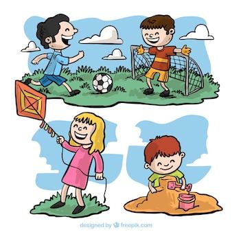 Pacote com crianças desenho à mão livre se divertindo