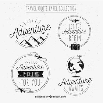 Pacote de adesivos de aventura desenhados a mão