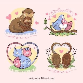 Pacote de adorável casal de animais desenhados a mão