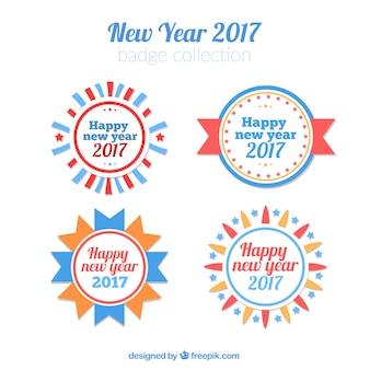 Pacote de ano novo de 2017 emblemas redondos