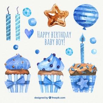Pacote de aquarela decoração de aniversário