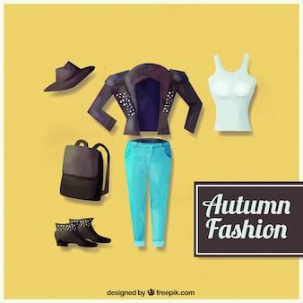 Pacote de aquarela estação do outono roupas casuais