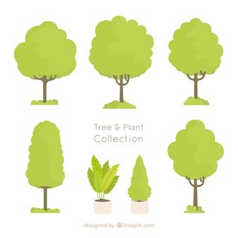 Pacote de árvores desenhadas à mão