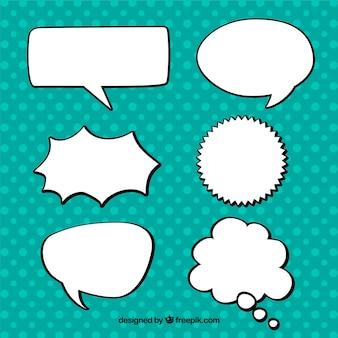 Pacote de balões de fala desenhados mão