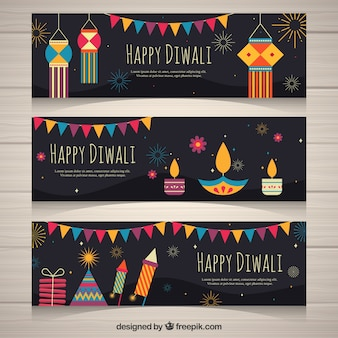 Pacote de bandeiras de diwali com elementos decorativos em design plano