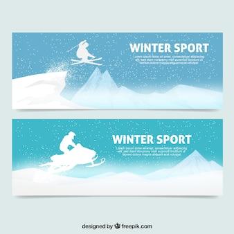 Pacote de banners com grandes desportos de Inverno