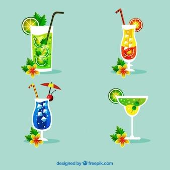 Pacote de bebidas de verão tropicais