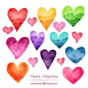 Pacote de belas corações da aguarela