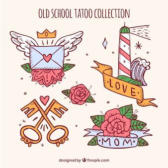 Pacote de belas tatuagens retro desenhadas a mão