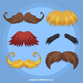 Pacote de bigodes com estilos diferentes para movember