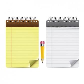 pacote de bloco de notas com um lápis